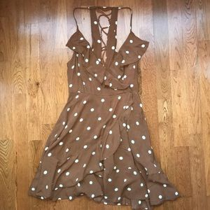 UO ruffled polka dot dress XS